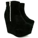 Spy Love Buy Cassidy Suede Style Wedge Heel Platform Zip Court Shoes