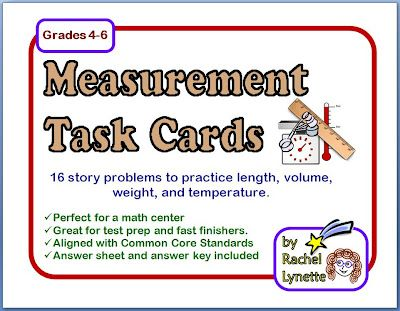 Free Measurement Word Problem Task Cards plus a great collection of free measurement resources!