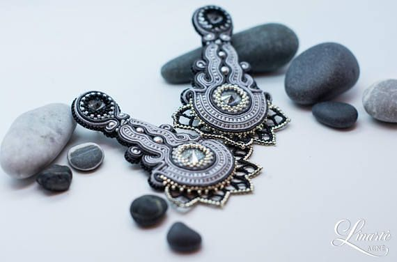 Luxury long earrings party jewelry with Swarovski crystals