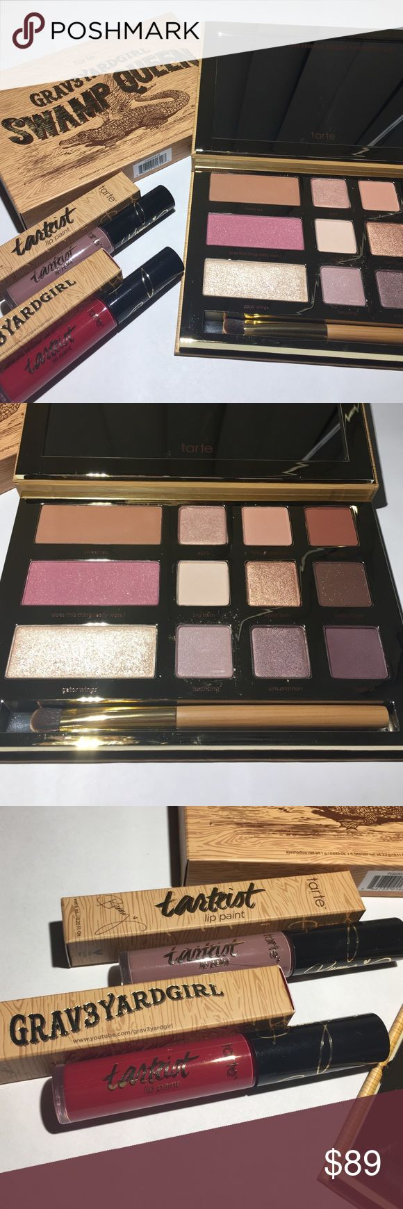 Tarte Swamp Queen Palette and Lip Paints Set Tarte Grav3yardGirl Swamp Queen Palette, Texas Toast Liquid Lipstick Lip Paint, and Swamp Family Liquid Lipstick Lip Paint Set. Brand new never used 100% authentic and priced below retail. tarte Makeup Eyeshadow