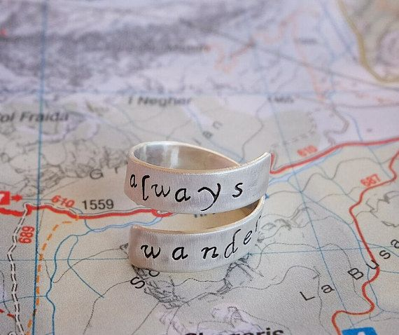 """Wander Often Wonder Always""  Adjustable Sterling Silver Ring"