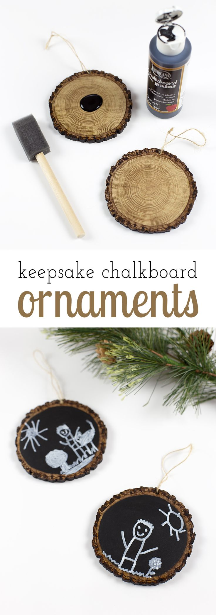 Easy Keepsake Chalkboard Ornaments, guaranteed to make your heart swoon every Christmas. An Christmas craft for kids to make. via @https://www.pinterest.com/fireflymudpie/