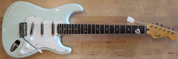 squier vintage modified surf stratocaster in sonic blue w white pearl pickguard and duncan. Black Bedroom Furniture Sets. Home Design Ideas