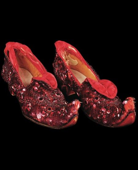 the original curled-toe arabian ruby slippers worn by judy garland during costume tests while filming the wizard of oz but not used in the movie