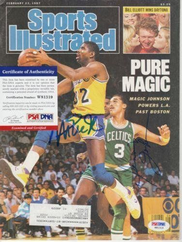 Magic Johnson Dennis Sports Illustrated SI Magazine Signed AUTOGRAPH - PSA/DNA Certified - Autographed NBA Magazines * Find out more about the great product at the image link.