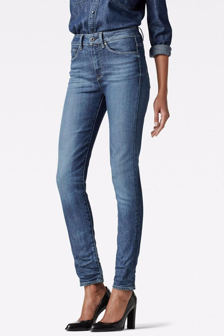 The G-Star 3301 is a style neutral jean with classic 5-pocket construction. Stripped down to its purest form, this essential jean combines authentic details with clean styling. This jean fastens with a zipper.   High Skinny Petite by G-Star Raw. Clothing - Bottoms - Jeans & Denim - Skinny Canada