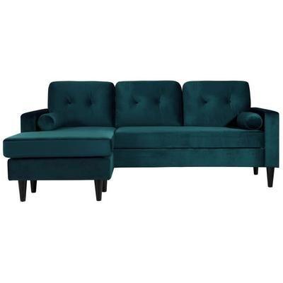 IBRA Canapé d'angle réversible fixe 4 places - Velours bleu - Scandinave - L 205 x P 82,5 - 130 cm - Achat / Vente canapé - sofa - divan Structure en bois d'eucalyptus massif-Revêtement en velours : 100 % polyester - Cdiscount