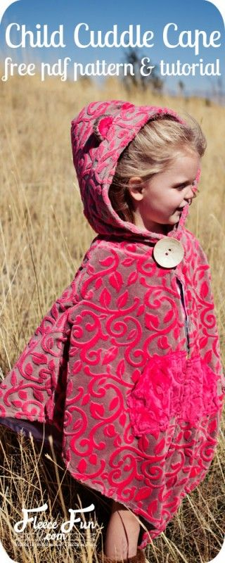 This cape is so cute! I love the cloth too. Free pdf sewing pattern - I so want to make one for a sweet little someone I know. Such a great sewing DIY idea.