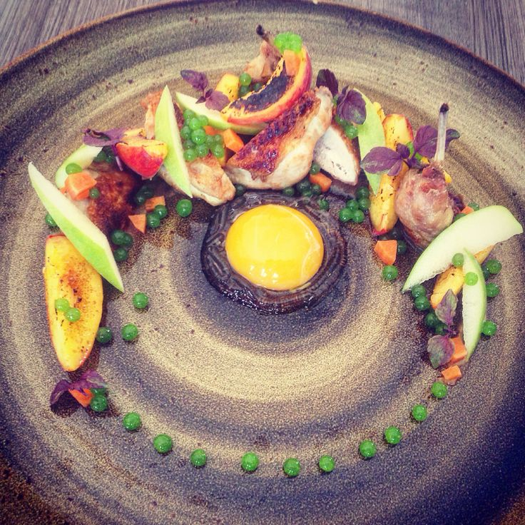 Quails, Pan seared breasts, deep fried thighs. Caramelized beaches in ginger infused sugar. Fresh green apple. Parsley caviar. Egg yolk. Green apple spaghetti and peach purée