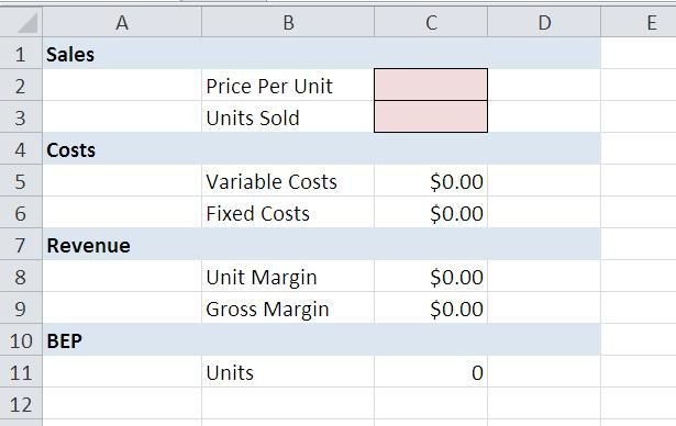 A worked through example of how to determine unit and product costs using Excel