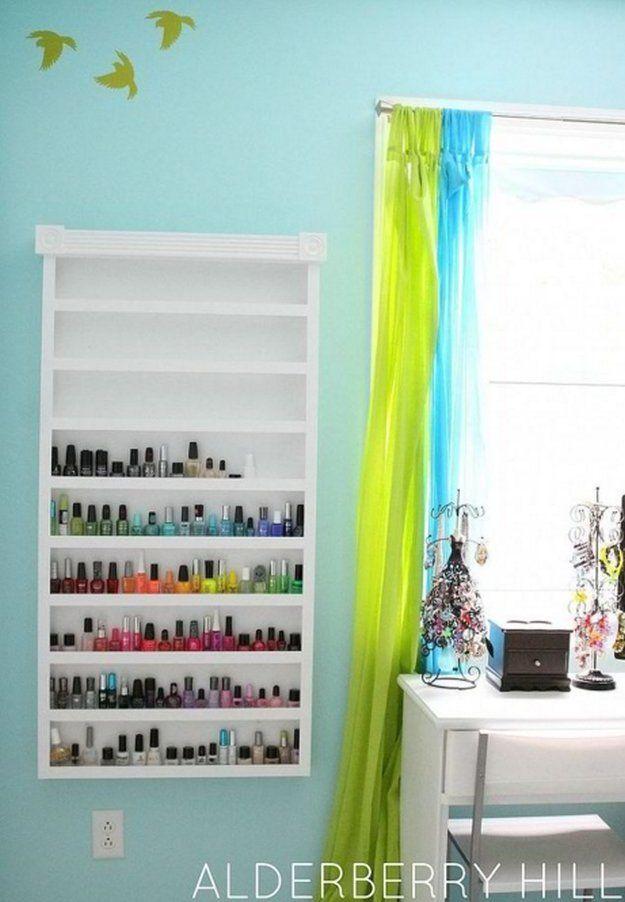 Nail Polish Shelf|DIY Nail Polish RackIdeas,see more at: http://diyready.com/diy-nail-polish-rack-ideas/