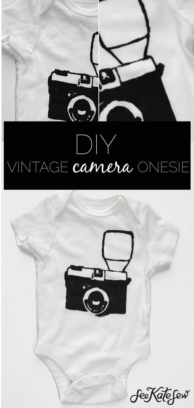 DIY vintage camera onesie | homemade onesies | DIY onesies | DIY baby clothes | DIY baby gifts | homemade baby gifts | baby shower gift ideas || see kate sew