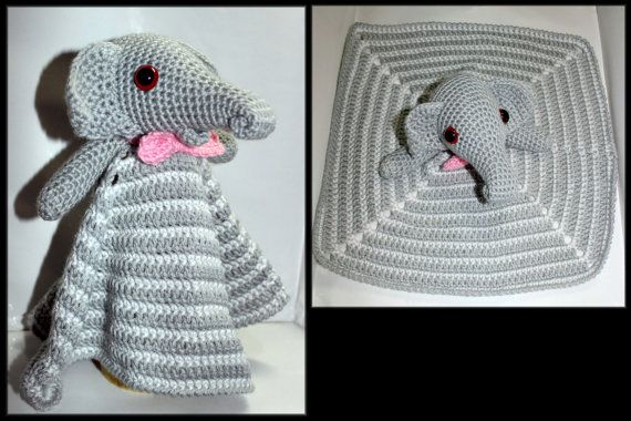 Crochet Elephant Security Blanket by HazelCrochet on Etsy
