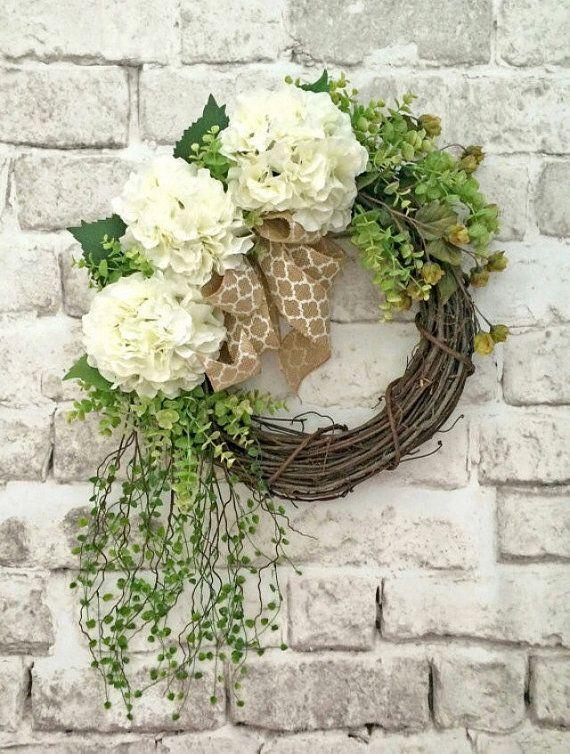 White Hydrangea Wreath, Front Door Wreath, Silk Floral Wreath, Outdoor Wreath, Grapevine Wreath, Burlap Bow, Wreath for Door, Wedding Wreath, Spring Wreath, Summer Wreath, Quatrefoil, Etsy Wreath, by Adorabella Wreaths!