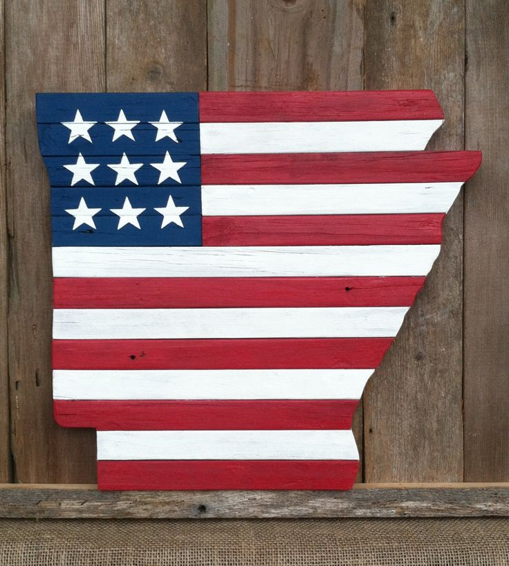 Arkansas State Map Wood Cutout American Flag by LowerArkCrafts on Etsy