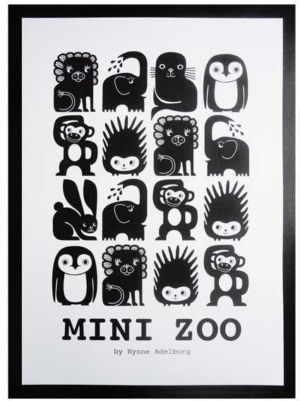 Mini Zoo Grafisk plakat med dyr - Tinga Tango Designbutik. Interiørbutik - Interior - Children - Børn - Toys - Legetøj - Brugskunst - Design - Kunst - Webshop - Billig fragt - illustrationer - porcelæn - keramik - Black - Sort