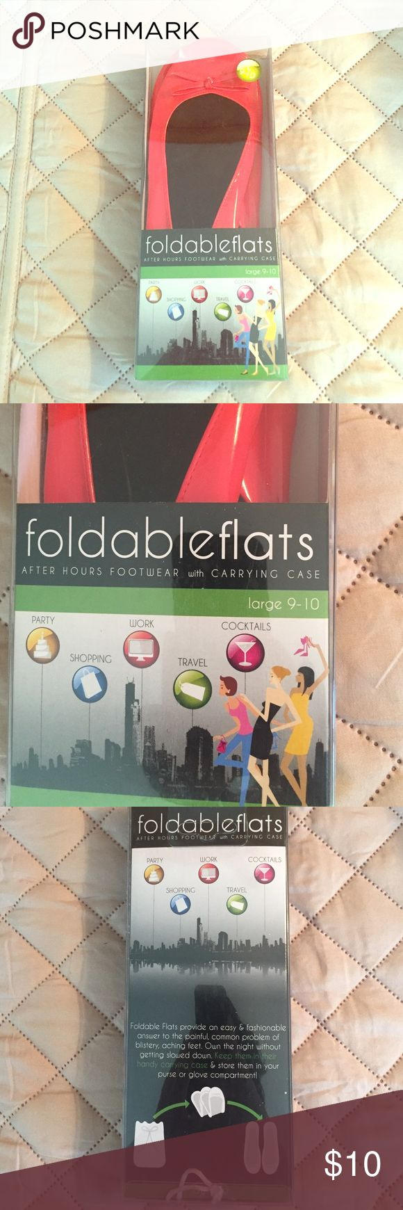 Foldable flats with carrying case Foldable flats with carrying case in red. Fits size 9-10. Perfect to keep in your bag for a night out! Happy to include as a freebie with another purchase from my closet. Foldable flats Shoes Flats & Loafers
