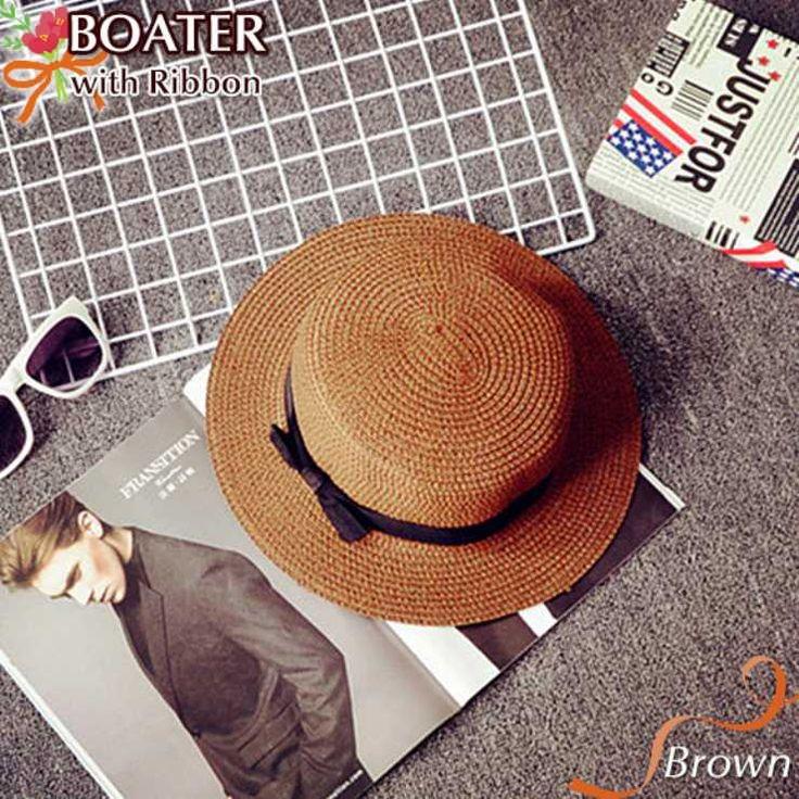 レディース 帽子 かんかん帽 ストローハット 麦わら帽子 ホワイト ベージュ ブラウン ブラック リボン 4