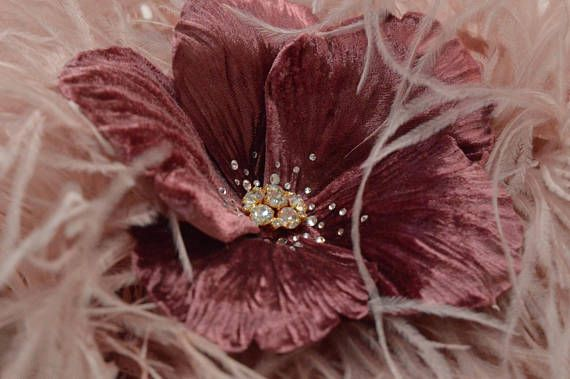 Pink Fascinator Floral Hairpiece Feather Headpiece, pink hair flowers