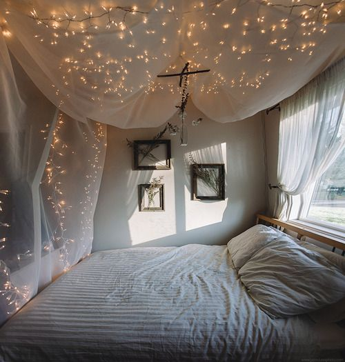 two sets of light nets, two sheets of sheer fabric from a fabric store (measure the length of your bed and add 2-3 feet for the ceiling so you can drape it), a box of clear push pins/tacks. get some clear push pins to tack the lights to your ceiling, then the fabric over the top.