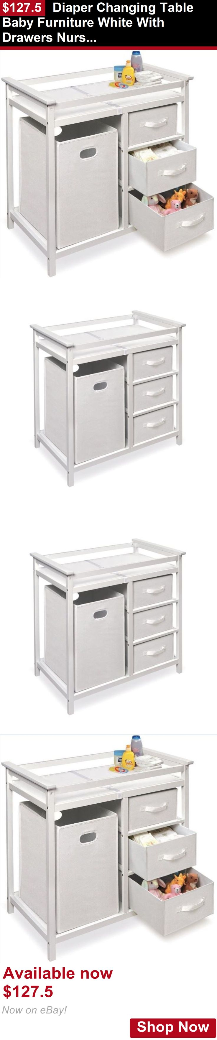 Changing Tables: Diaper Changing Table Baby Furniture White With Drawers Nursery Storage Station BUY IT NOW ONLY: $127.5