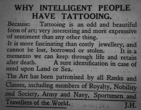 Why intelligent people have tattooing!!! Very Very Very well said!!!!!!!!!!!!!!!!!!!!!!!!