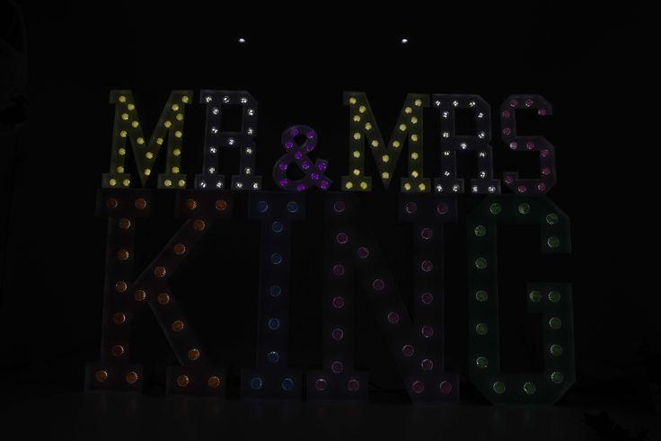 MR & MRS KING Large Light Up Letters for Wedding Celebrations.