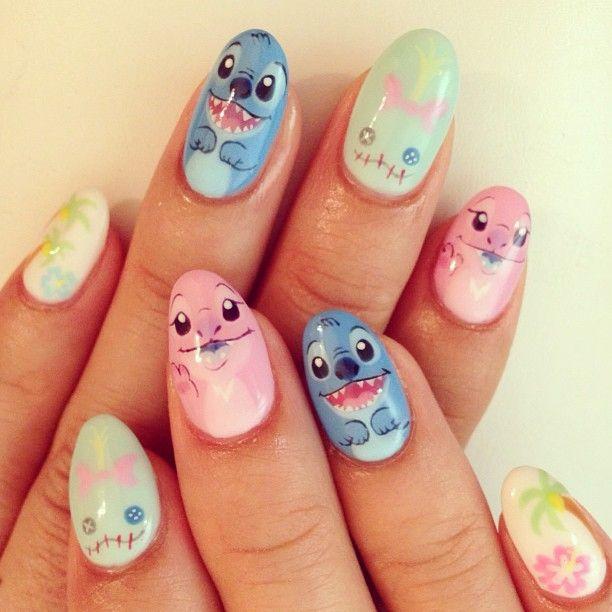 Nail Art Stitch: #stitch #nail #nailart #naildesign #cartoonnail #cutenail
