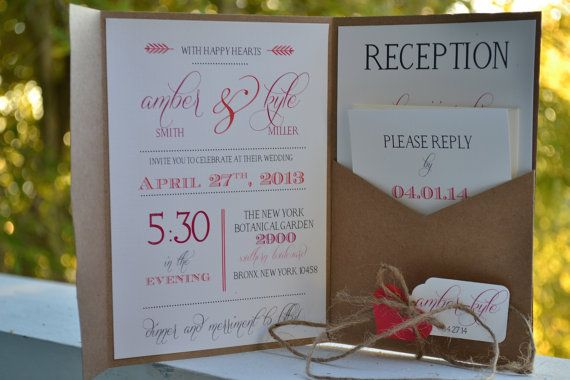 This kraft pocket fold invitation design is a perfect way to invite guests to your vintage, rustic, shabby chic, farm, or barn themed wedding. It is made