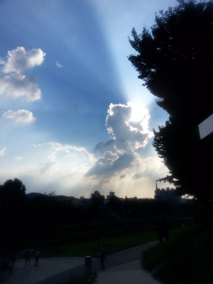 It's such a wonderful moment. Harmony of sunshine and cloud is so beautiful..!   At the front road of Cafe Na-rang. Korea. #옴니