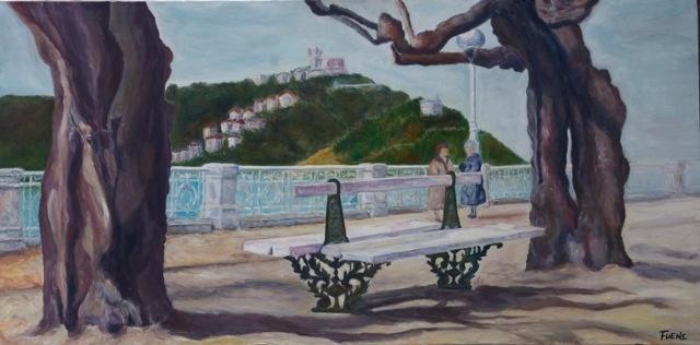 La Concha, por Fuensanta Ruiz Uríen , 50 x 100 cm oil on canvas. Done for the project SAN SEBASTIAN European Cultural Capital 2016