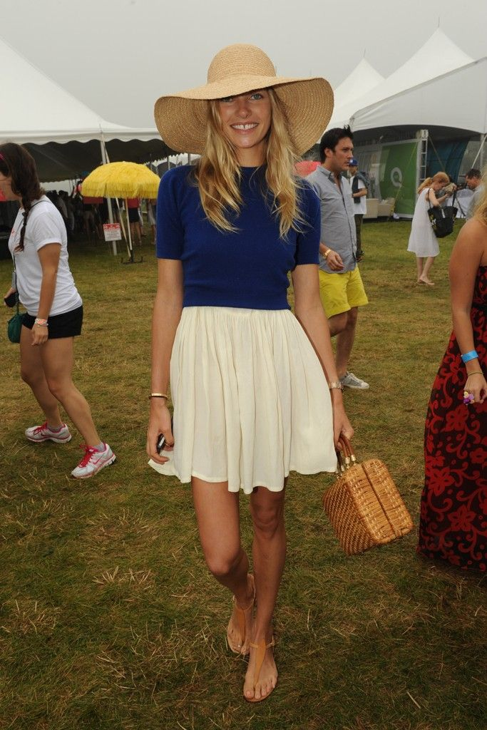 Love this blue/cream combo. Hat and handbag finishes it perfectly. From Super Soaker Saturday in the Hamptons - WWD.com