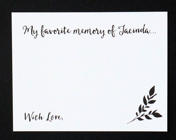 Celebration Of Life My Favorite Memory Of Card Etsy Memorial Cards For Funeral Funeral Guest Book Celebration Of Life