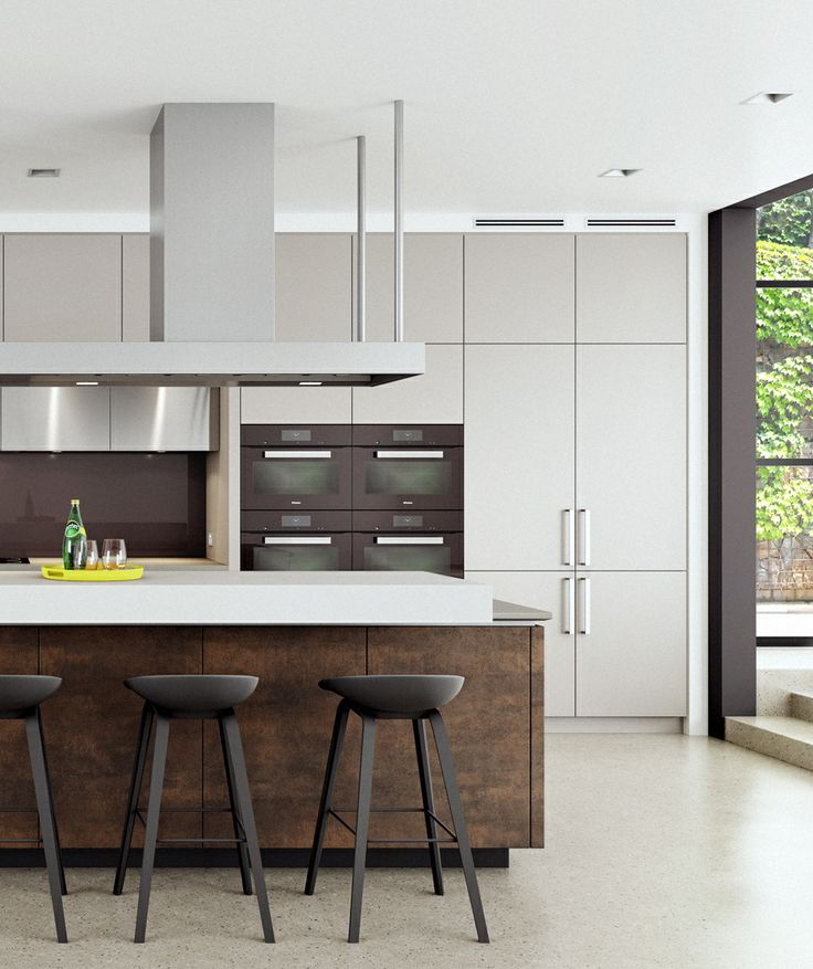 Contemporary Kitchen Vs Modern Kitchen: Neolith Iron Moss Doors On The Island And Stainless Steel