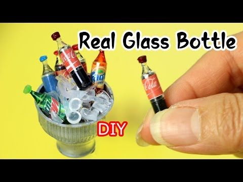DIY Miniature Soda Bottle With Real Glass Bottle/Coca Cola/Pepsi/Mountain Dew - YouTube