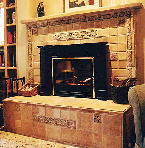 Raised Hearth Fireplace Designs: American Arts And Crafts Tiles