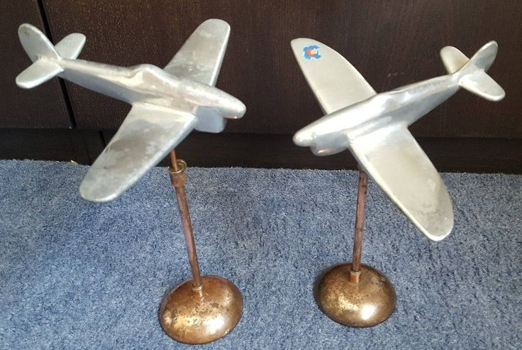 WWII Old Trench Art Aluminium TYPHOON's on copper Plinths  - Superb Desk Display by FromDECOtoDISCO on Etsy