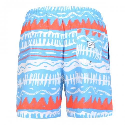 MID-LENGHT SWIM SHORTS WITH TRIBAL PRINT Polyester mid-lenght Boardshorts with multicolor tribal print. Elastic waistband with adjustable drawstring. Back pocket with Frank's label detailing. Internal net. COMPOSITION: 100% POLYESTER.