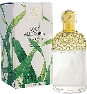 Aqua Allegoria Herba Fresca, by Guerlain, est. 1999. Fresh-cut grass and mint, with a shard of lemon zest. Smells like fine summertime.