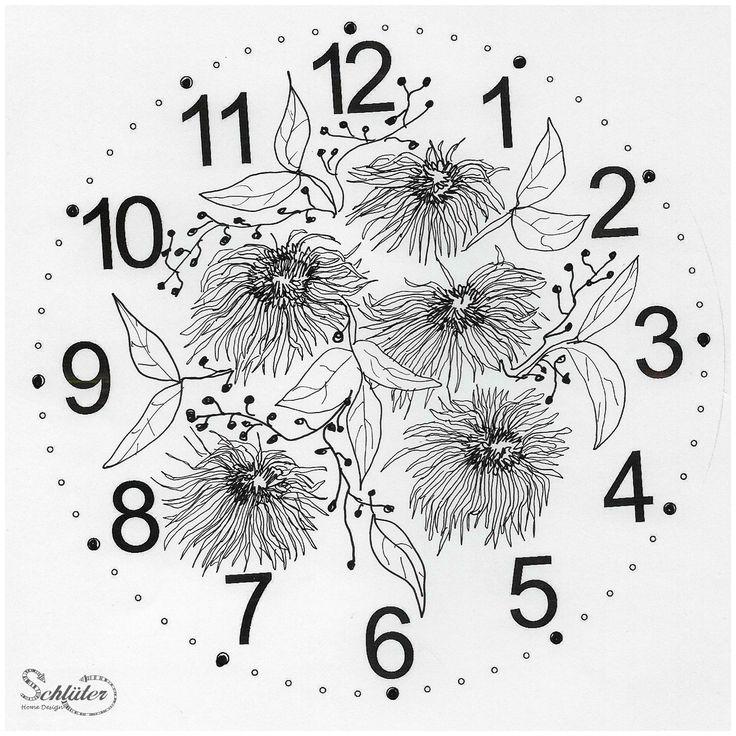 für Uhren: Zifferblatt mit Blumen, gezeichnet