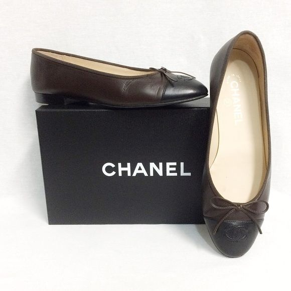 "Exclusive authentication service & customer support. Free 1-3 day shipping for a limited time. Description: CHANEL Ballerina Flat. Features brown leather with contrast black leather cap toe, ""CC"" logo top stitching at toe and leather bow. European size 39, approx US 9. Very good, used condition - no deep scuffs or stains. The classic shoe from a timeless designer.. Sold by dejavuresale. Fast delivery, full service customer support."
