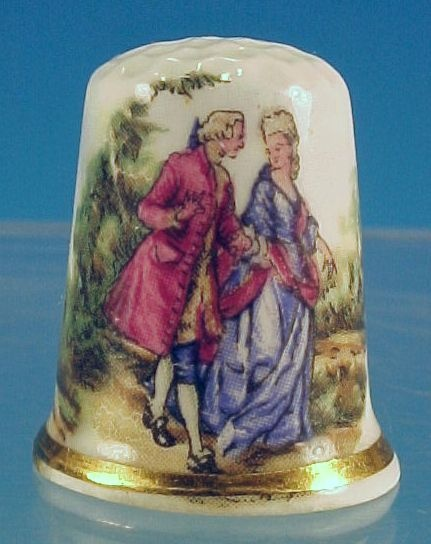 Vintage Bone China Thimble Victorian English COURTING COUPLE Scene Made in England