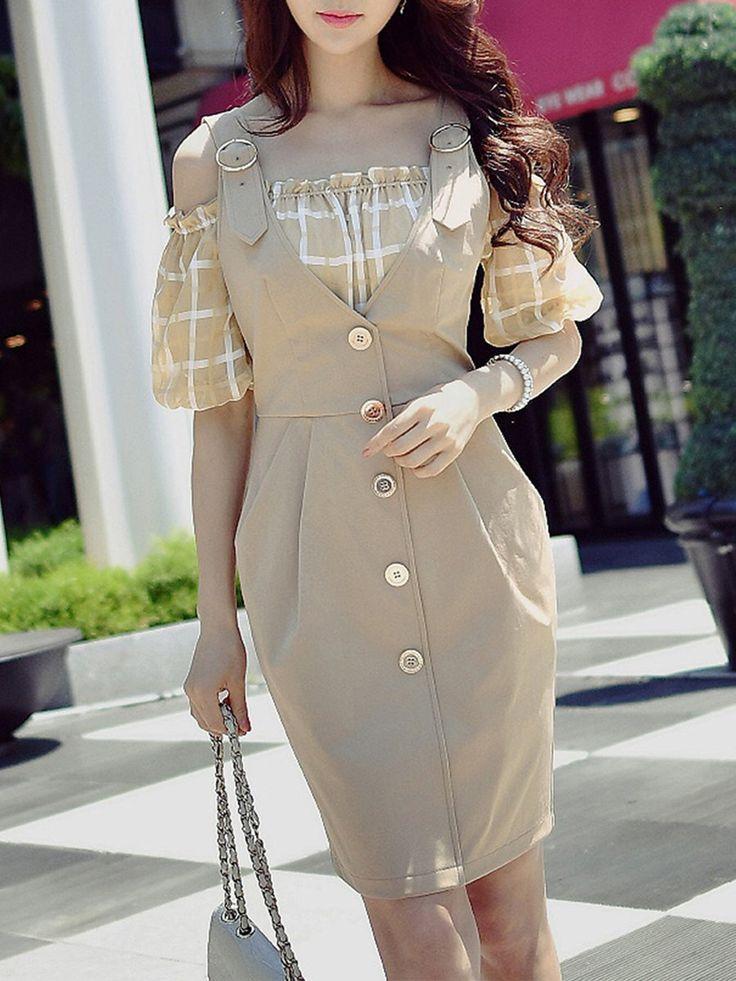 Shop Midi Dresses - Camel H-line Cold Shoulder Midi Dress online. Discover unique designers fashion at StyleWe.com.
