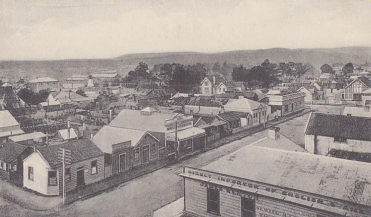 View of Hamilton, Hokitika, circa 1906, with view of the original Renton's Building bottom right. This photo was taken from the fire station bell tower.