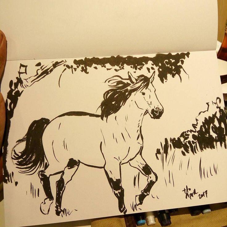 Usaha ke sekian belajar menggambar rambut. Kali ini rambut kuda. #horse #ink #brushpen