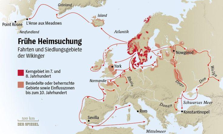 Siedlungsgebiete der Wikinger