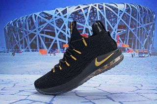 5833ac06c11 Nike LeBron 15 Low Black Gold AO1756 008 Men s Basketball Shoes James Shoes