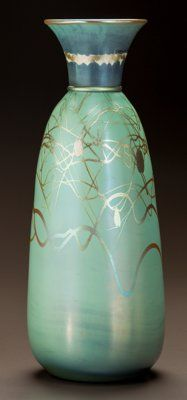 STEUBEN GLASS TYRIAN VASE Circa 1916. Engraved Tyrian Ht. 12-5/8 in