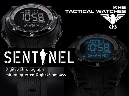 """The new model series """"Sentinel DC"""" from the KHS Tactical Watches is an ultramodern multi-functional watch with built-in digital Kompass.Das ultra-light weight of only 57 grams, coupled with superior functionality and a digital compass, draw this """"KHS Digital alarm chronograph """"which is also a digital dual timer, off!  Available from 110. - Euro. Worldwide shipping for free."""