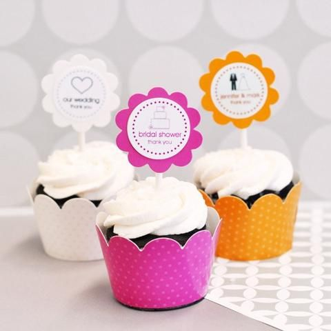 Personalized Wedding Cupcake Wrappers & Toppers (set of 24)